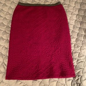 Pink Knit Patterned Pencil Skirt